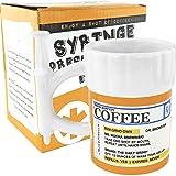 Fairly Odd Novelties Jarra para café en forma de frasco de medicamentos con jeringa, 350 ml, blanca