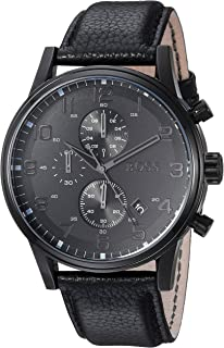 Hugo Boss Leather Strap Chronograph Watch Black One Size 29aab57e40