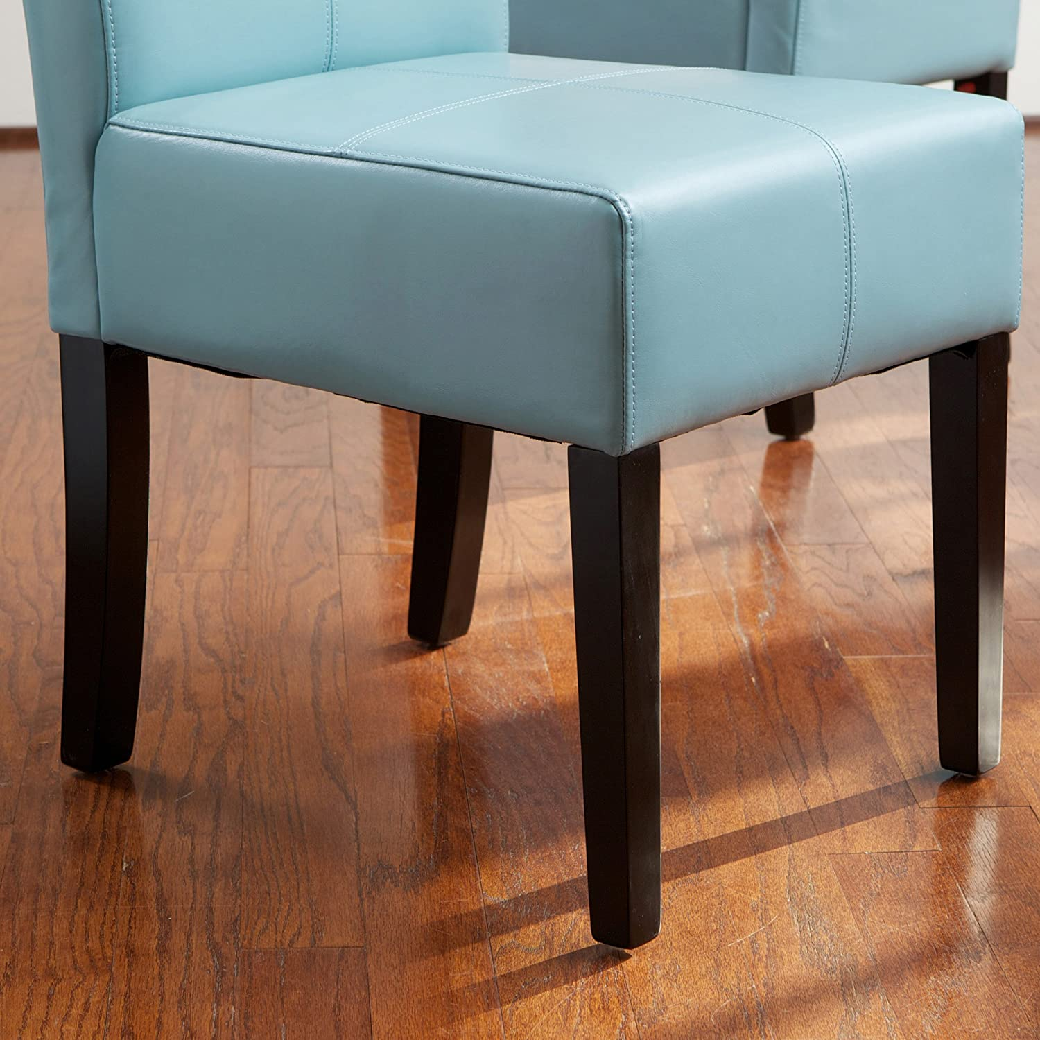 Emilia Teal Blue Leather Dining Chair Set of 2 Amazon Home