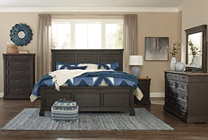 Tye Creek Casual Black/Gray Color Wood Bedroom Set: Queen Louvered Panel Bed ,