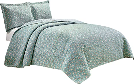 Chezmoi Collection Printed Patchwork Coverlet Bedspread Washed Cotton Quilt Set
