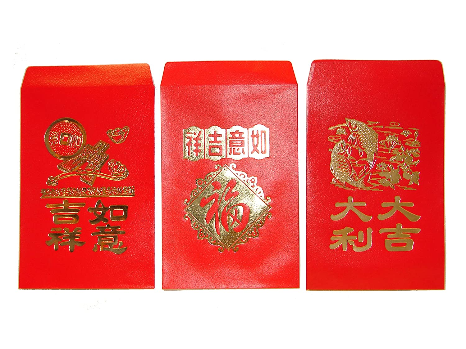 Amazon.com : Chinese Red Envelopes, pack of 50 in 3 designs ...