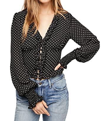 cf322fe7262c92 R.Vivimos Women's Chiffon Polka Dot Blouse Ruffle Lantern Sleeve Vintage  Buttons Shirt Tops (