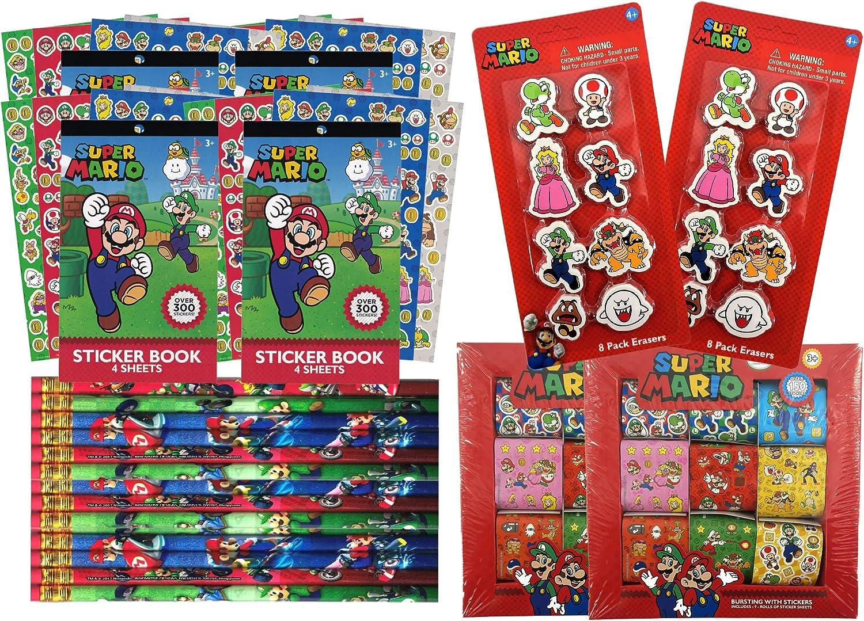 Super Mario Bros paquete de 16 recuerdos de fiesta de cumpleaños | incluye hojas de pegatinas de Mario y amigos, rollos de pegatinas, lápices Mario Kart, gomas de borrar | Super Mario