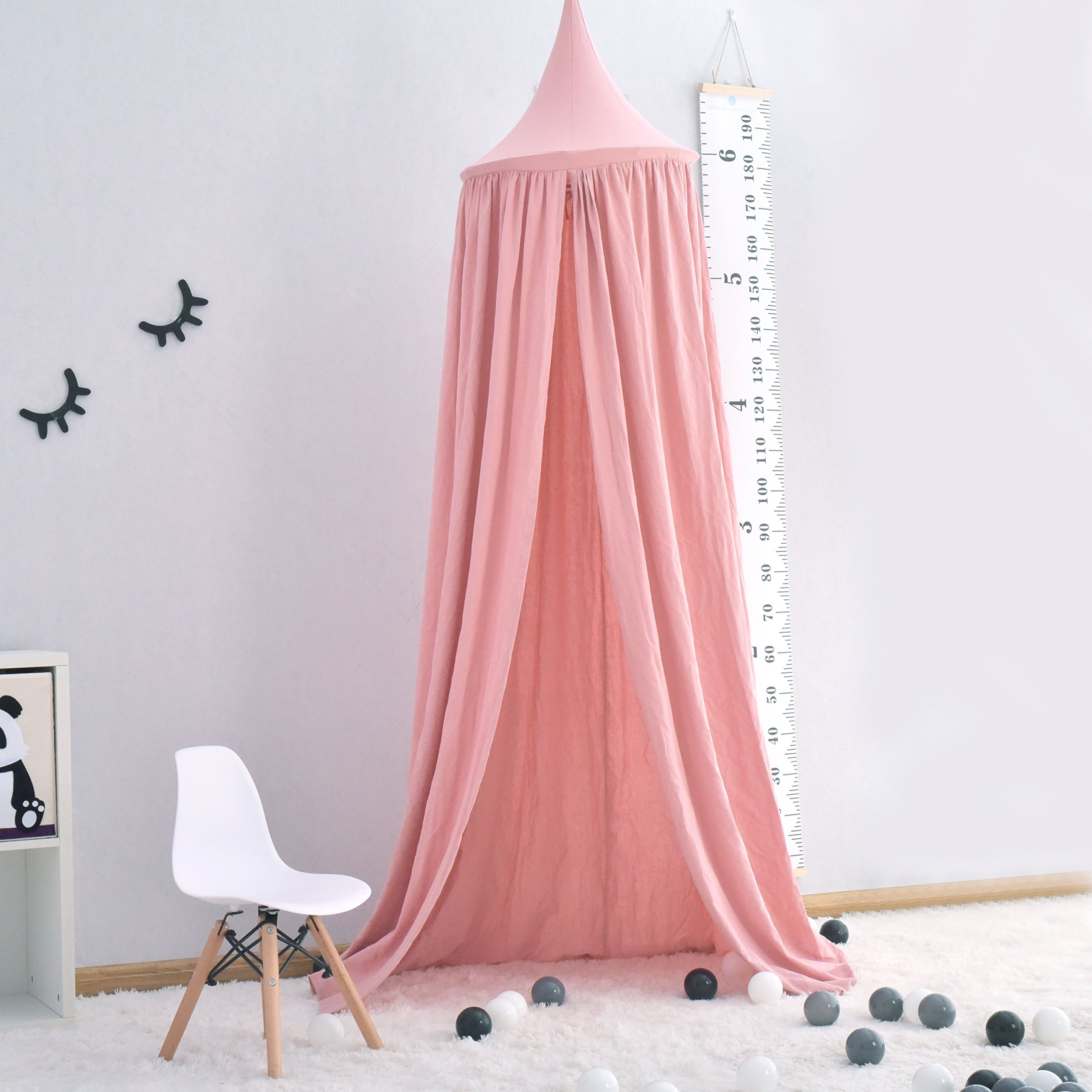 Generate Cotton Canvas Dome Bed Canopy Kids Play Tent Mosquito Net for Baby Kids Indoor Outdoor Playing Reading Height 230cm/90.55 in Pink