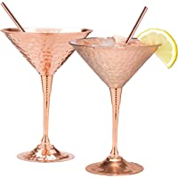 Copper martini glasses set of 2 by Mosscoff – 9.5oz Hand hammered solid copper goblets with exquisite reinforcement ring…