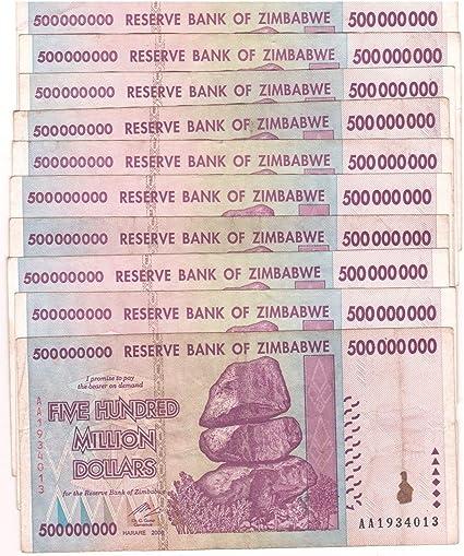 50 /&100 Trillion Series Zimbabwe 500 Million Dollars 2008 AA// AB  Circulated