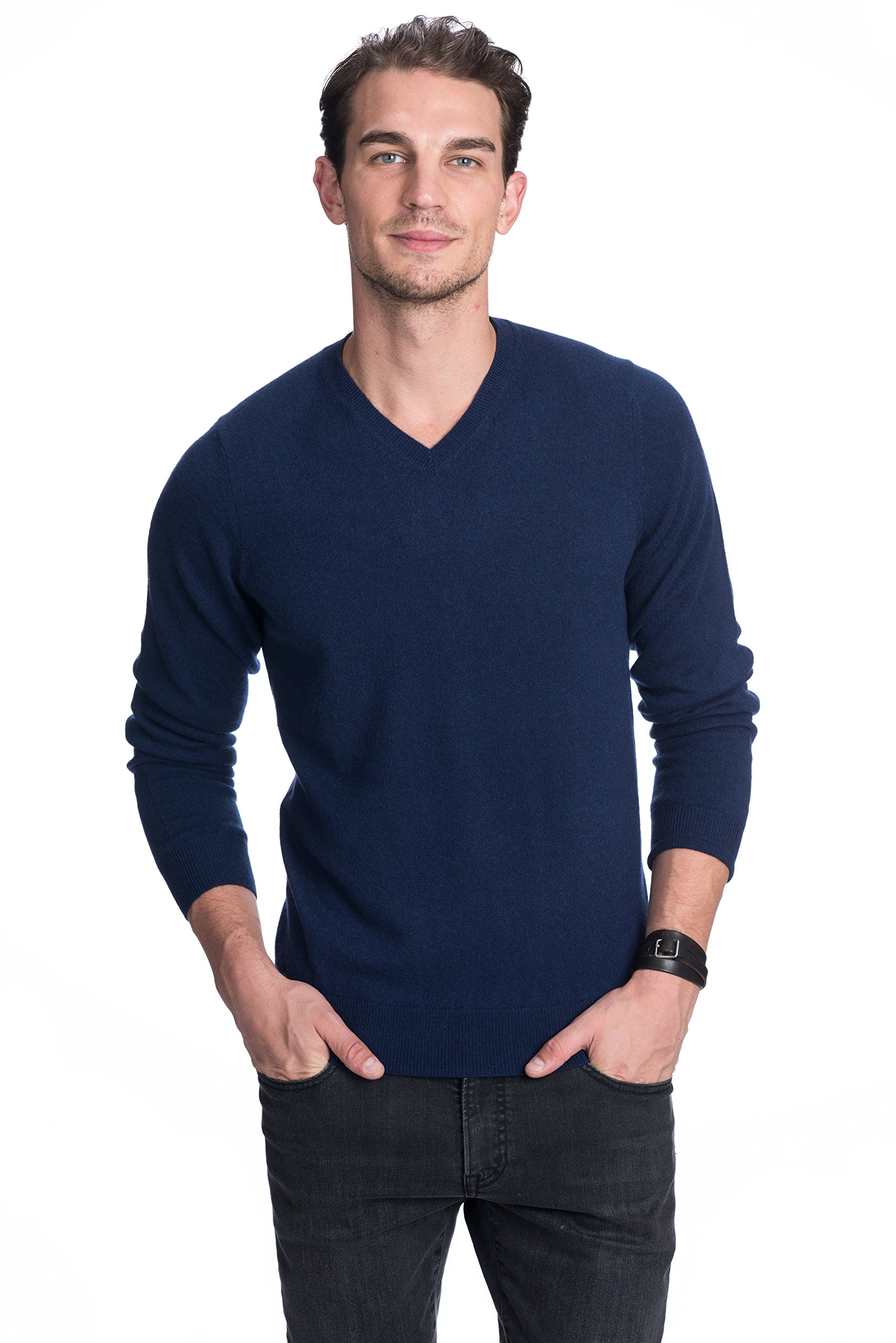State Cashmere Men's 100% Pure Cashmere Long Sleeve Pullover V Neck Sweater (Large, Navy)
