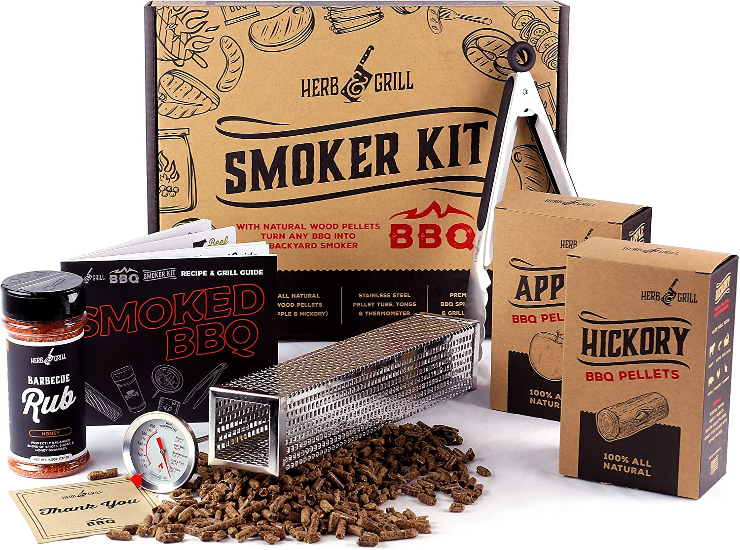 Herb & Grill 7 Piece BBQ Cooking Gift Set for Dad | Smoking Wood Pellet Smoker Tube with Honey BBQ Rub | Fun & Easy
