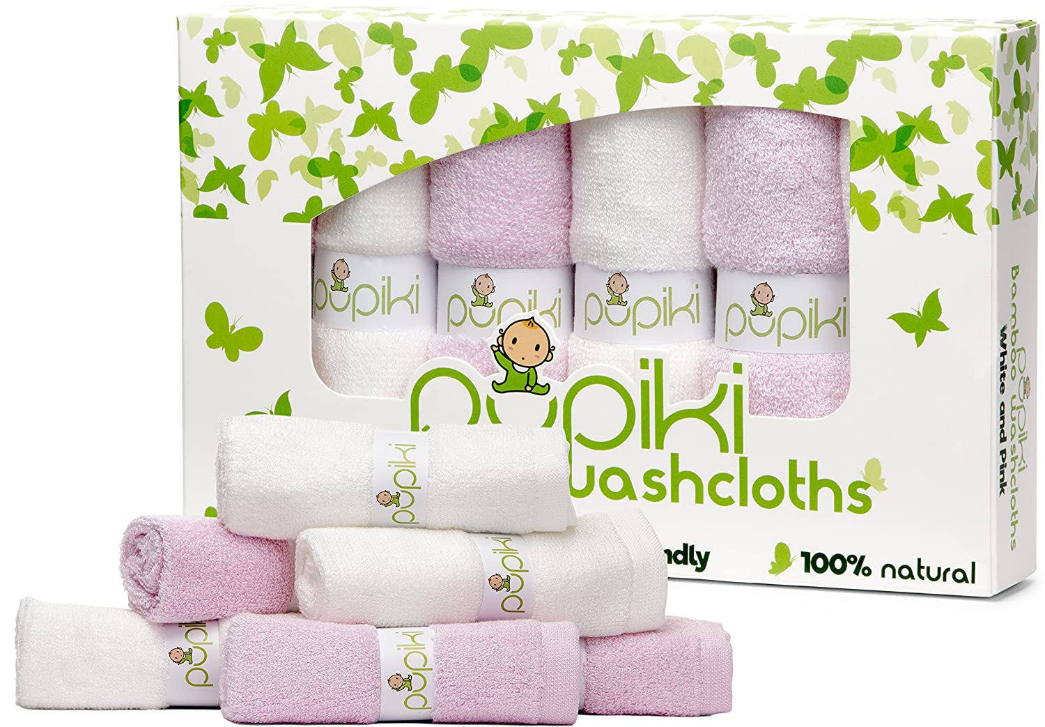 Pupiki Baby Washcloths: 6 Ultra-Soft 100% Organic Bamboo Baby Washcloth + Wash Bag Hypoallergenic Face Towels Extra-Absorbent 10X10 Newborn Towel for Boys & Girls Great Baby Shower Gift White & Green
