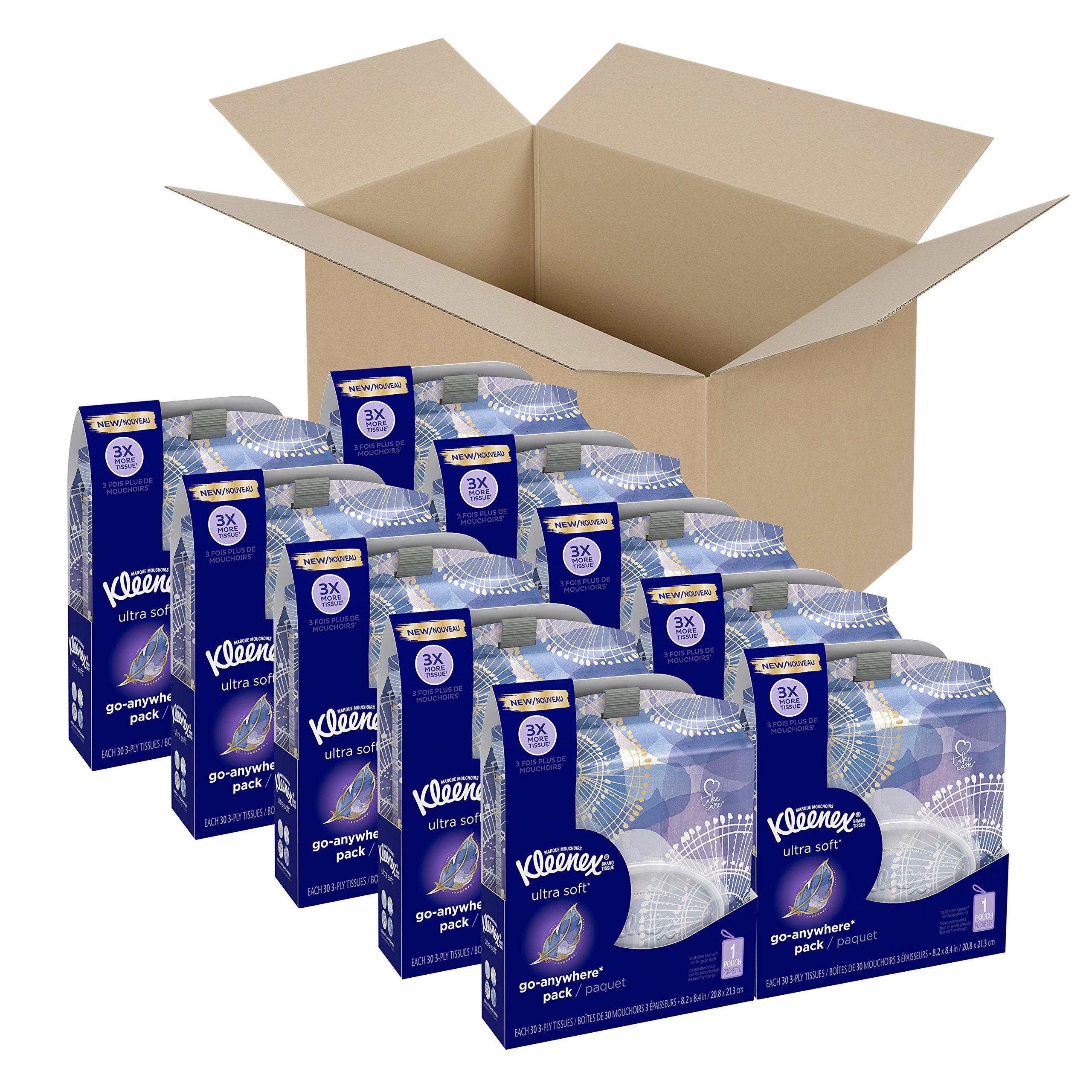 Kleenex Ultra Soft Go Anywhere Clip-On Facial Tissues, 30 Tissues per Travel Pack, 10 Packs by Kleenex
