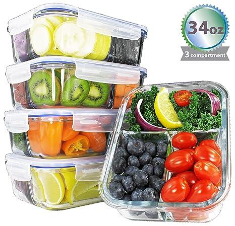 Amazon.com: [34oz, 4-Pack vidrio] Premium comida Prep ...