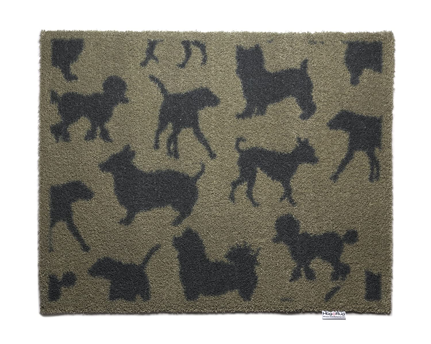 Beige with Charcoal Dogs Bosmere Hug Rug Eco-Friendly Absorbent Dirt Trapping Indoor Washable Mat, 25.5  x 33.5 , Topiary Trees