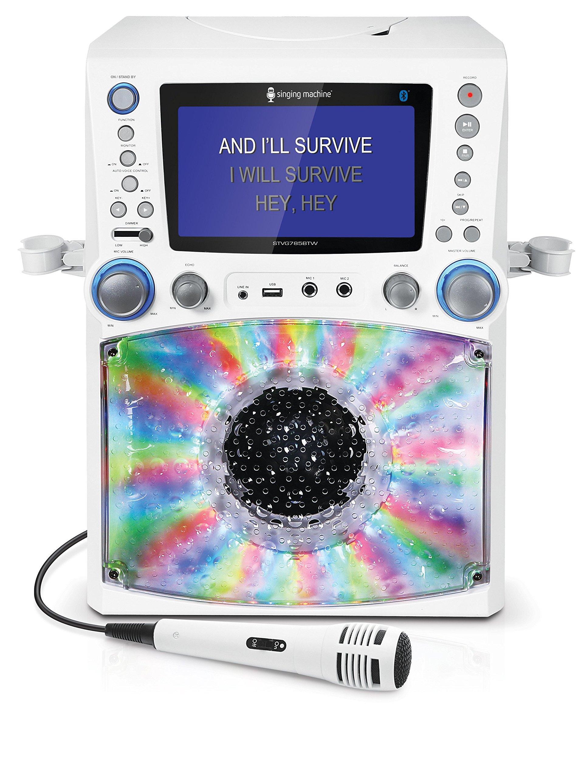 Singing Machine STVG785BTW Bluetooth Karaoke Machine with Disco Lights by Singing Machine