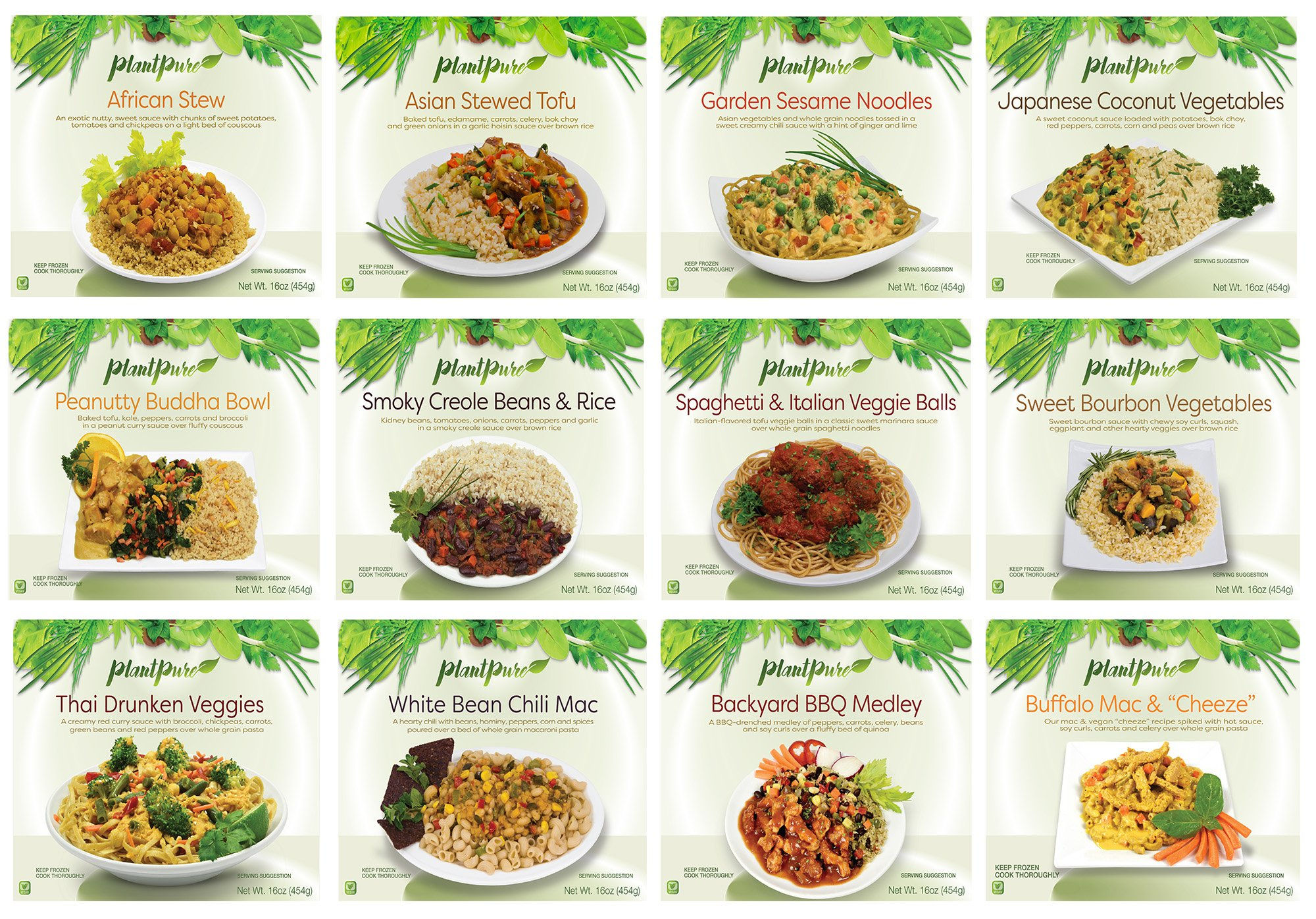 PlantPure Standard Pack of 20 Vegan Plant Based Frozen Entrees (One of each entree)