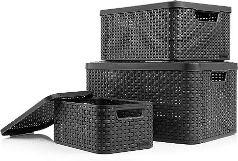 CURVER Cajas Style en ratán apilable con Tapa de diseño, 3 tamaños: L, M, S, Moderno Caja para baño, Cocina y hogar: Amazon.es: Hogar
