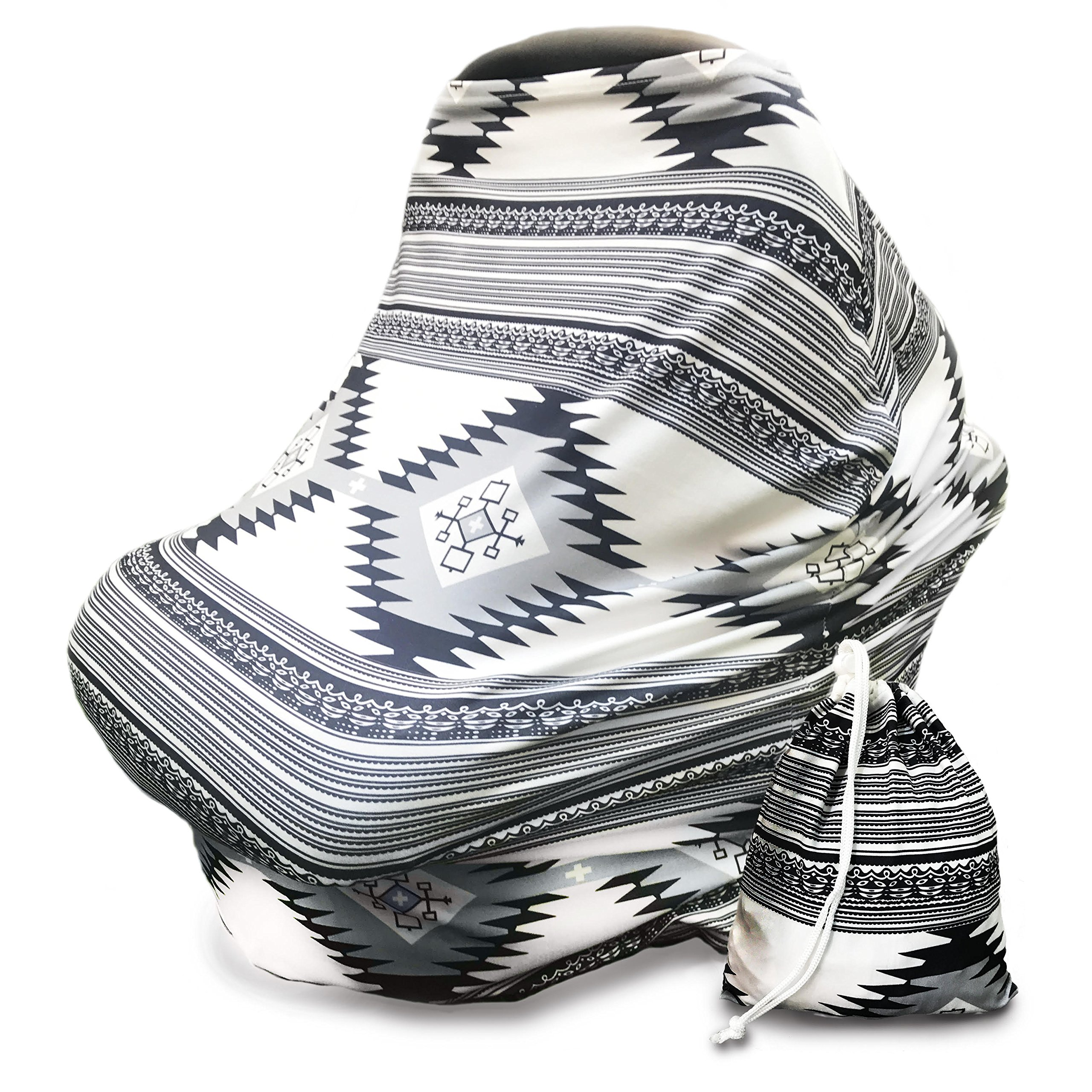 Nursing Breastfeeding Cover Scarf - Aztec Grey - Infant Car Seat Canopy - Shopping Cart - Carseat Covers - Baby gear - Multi Use Blanket Stroller - Perfect Baby Shower Gift for Boys and Girls