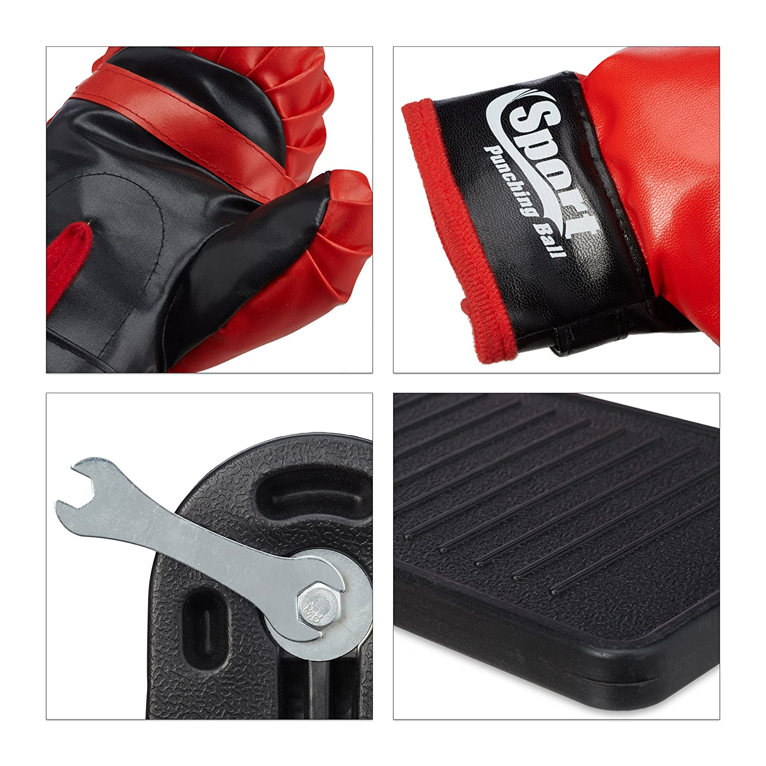 with Base Height Adjustable Relaxdays Punching Ball Set Children Pump Boxing Gloves black-red HBD: 102 x 15 x 52 cm