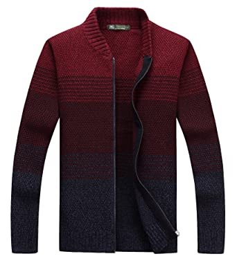 1ea6a9c4bb fanhang Men s Long Sleeve Slim Fit Zip Up Color Gradient Cardigan Sweater  Knitwear (Size M-7XL) at Amazon Men s Clothing store