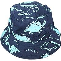 Mirreh Kids Boys Blue Dinosaur Bucket Sun Hat with Chin Strap