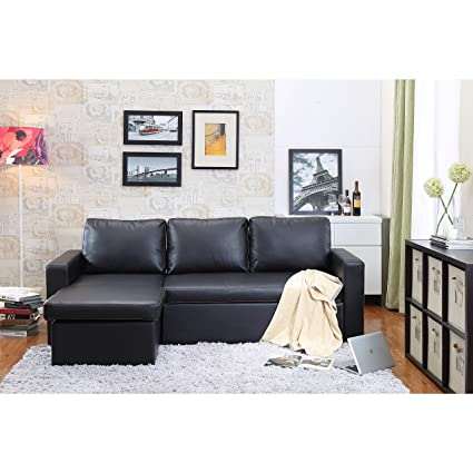 Amazon.com: Georgetown Bi-Cast Leather 2-Pieces Sectional Sofa Bed ...