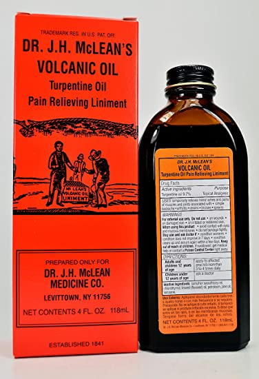 Dr  JH Mclean Medicine Co Volcanico Oil Turpentine Oil Muscle & Joint Pains  4 Oz