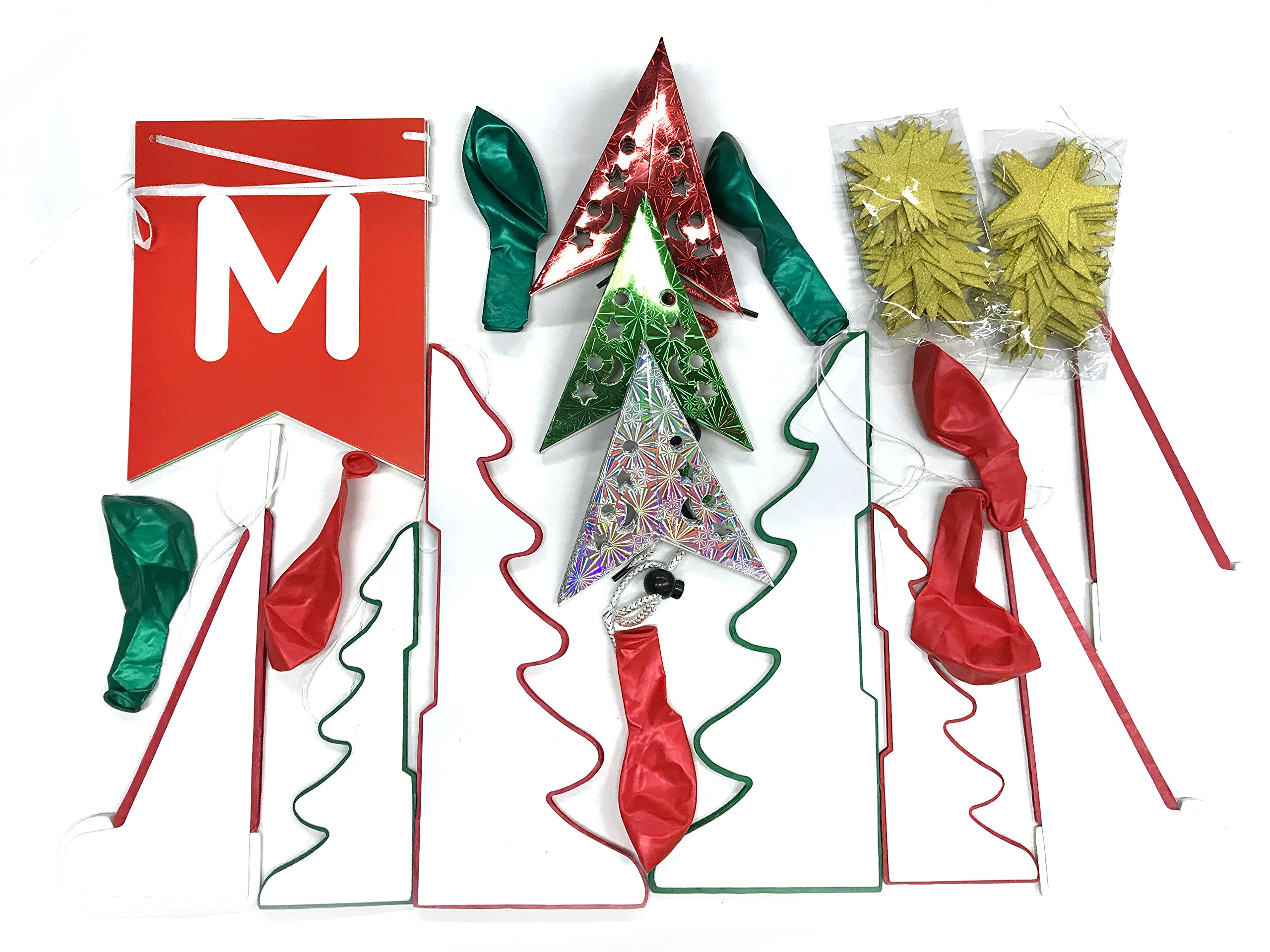 yotruth 25pcs Christmas Party Paper Decorations for Party Indoor and Outdoor Include Handmade Paper Stars Latten Trees Honeycomb hat Balloon Festival Banner