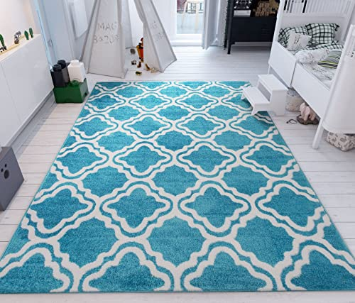 Modern Rug Calipso Blue 7 10 X10 6 Lattice Trellis Accent Area Rug Entry Way Bright Kids Room Kitchn Bedroom Carpet Bathroom Soft Durable Area Rug