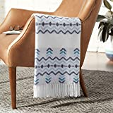 Amazon Brand – Rivet Contemporary Jagged Lines Throw Blanket - 60 x 50 Inch, Tonal Blue