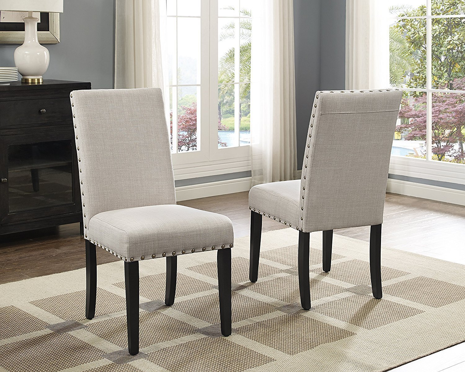 Roundhill Furniture T163-C162TA-C162TA-CB162TA Biony 6-Piece Wood Dining Set with Nailhead Chairs and Bench, Tan by Roundhill Furniture (Image #2)
