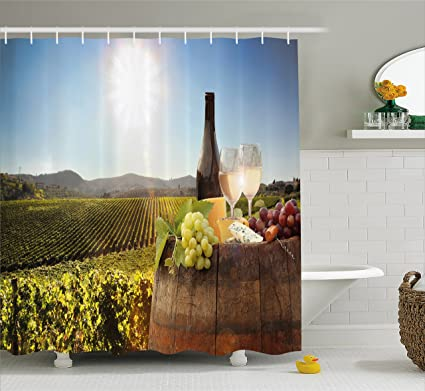 Ambesonne Wine Shower Curtain White With Barrel On Famous Vineyard In Chianti Tuscany Agriculture