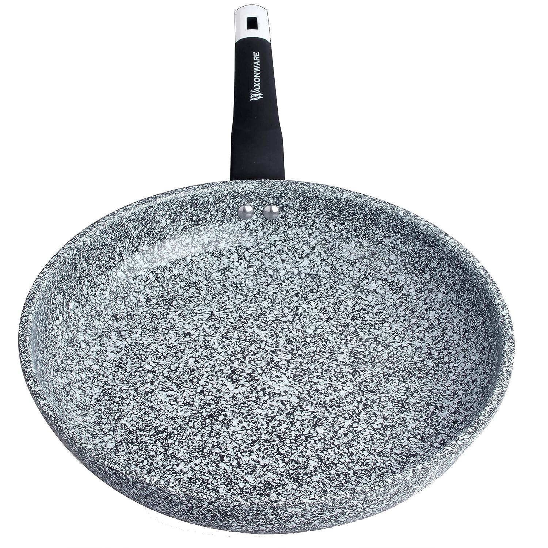 WaxonWare 11 Inch Granite Ceramic Nonstick Frying Pan & Nonstick Skillet, Anti-Warp Non Toxic PTFE APEO PFOA Free Nonstick Pan, Induction Compatible, Dishwasher Safe Omelette Fry Pan (STONETEC Series)