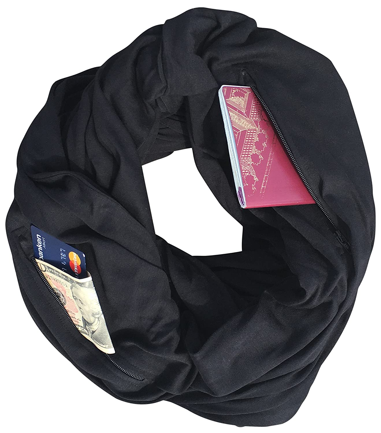 Clever Travel Companion Travel Scarf with 2 Hidden Zipper Pockets 100/% Pickpocket Proof Holiday Tour 00-01S030S Black