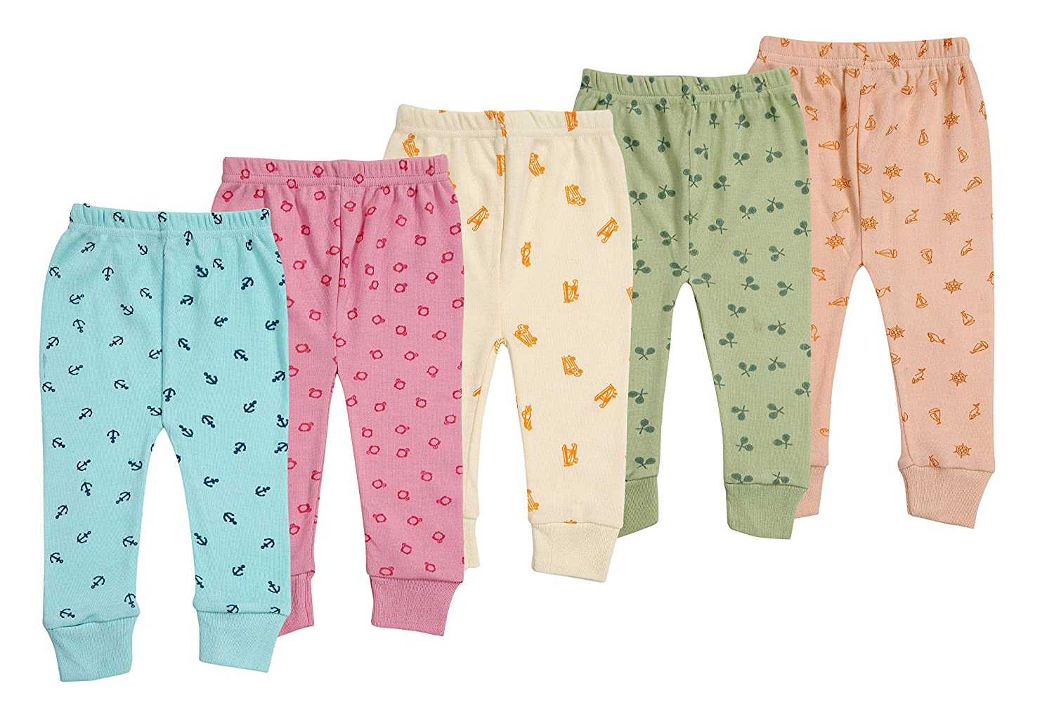 Kuchipoo Unisex Assorted Print Pajama Bottom (Pack of 5)