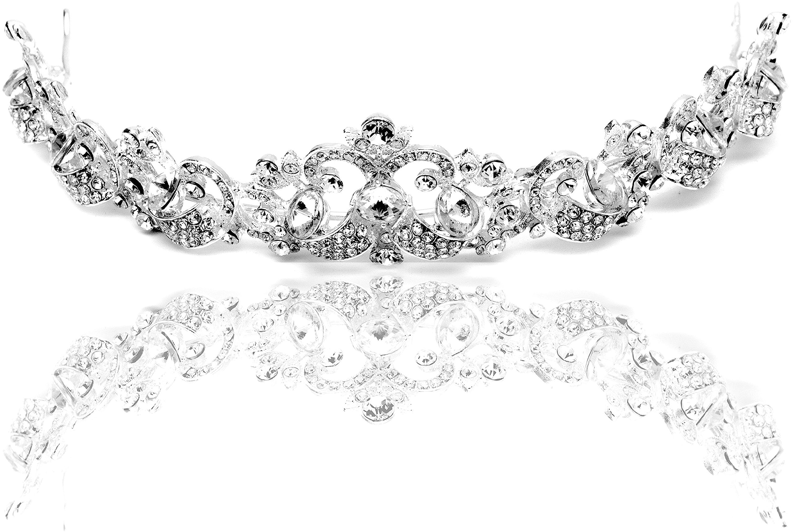 Dbella Bridal Tiara Rhinestones Crystal Wedding Headband Crown