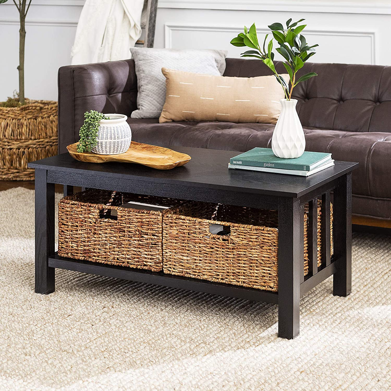 - WE Furniture AZ40MSTBL Rustic Wood Rectangle Coffee Accent Table