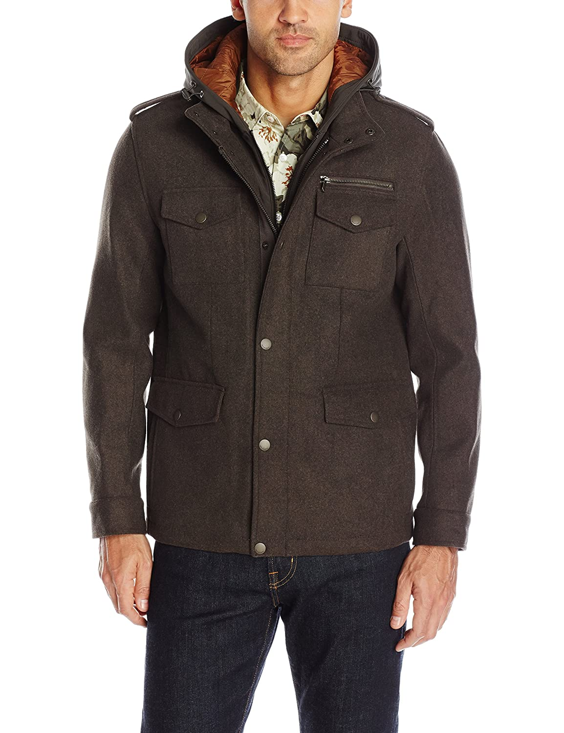 Tommy Hilfiger Men's Wool Blend Four Pocket Military Jacket with Soft Shell Hood 156AP146