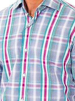 McGregor Camisa Hombre Turquesa/Magenta 42 cm (16.5