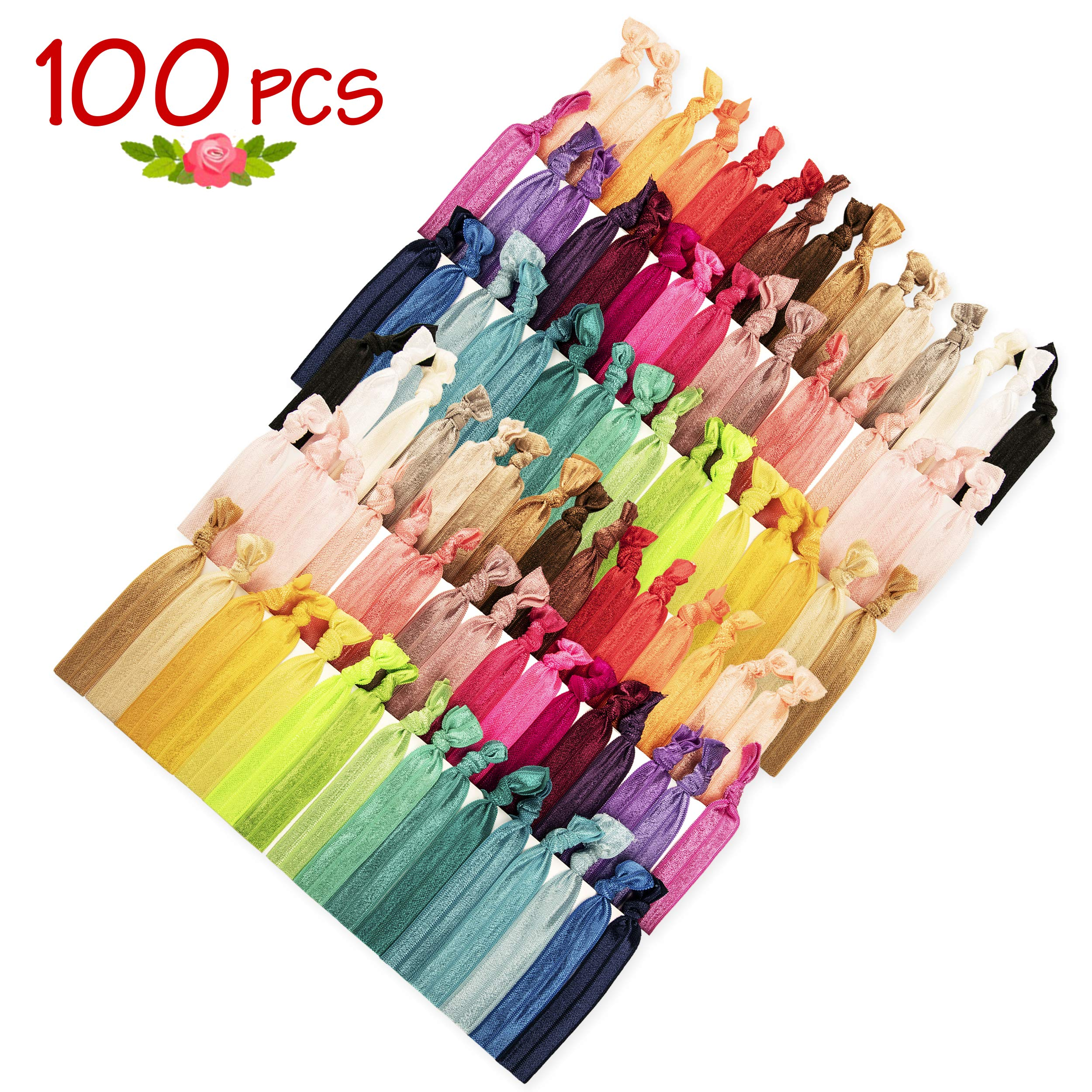 JLIKA Elastic Hair Ties (SET OF 100) Colorful Solids - No Crease Ouchless - Ponytail Holders - Ribbon Hairties for Women Girls Teens and Kids