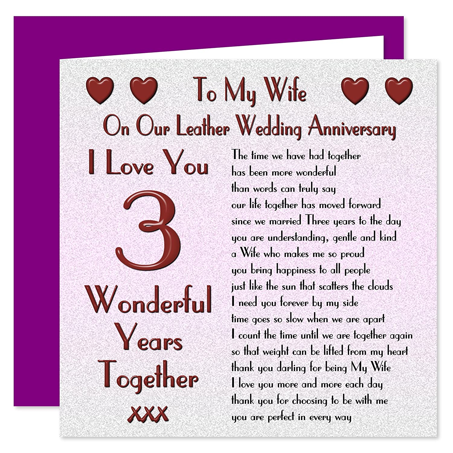 my wife 3rd wedding anniversary card on our leather anniversary