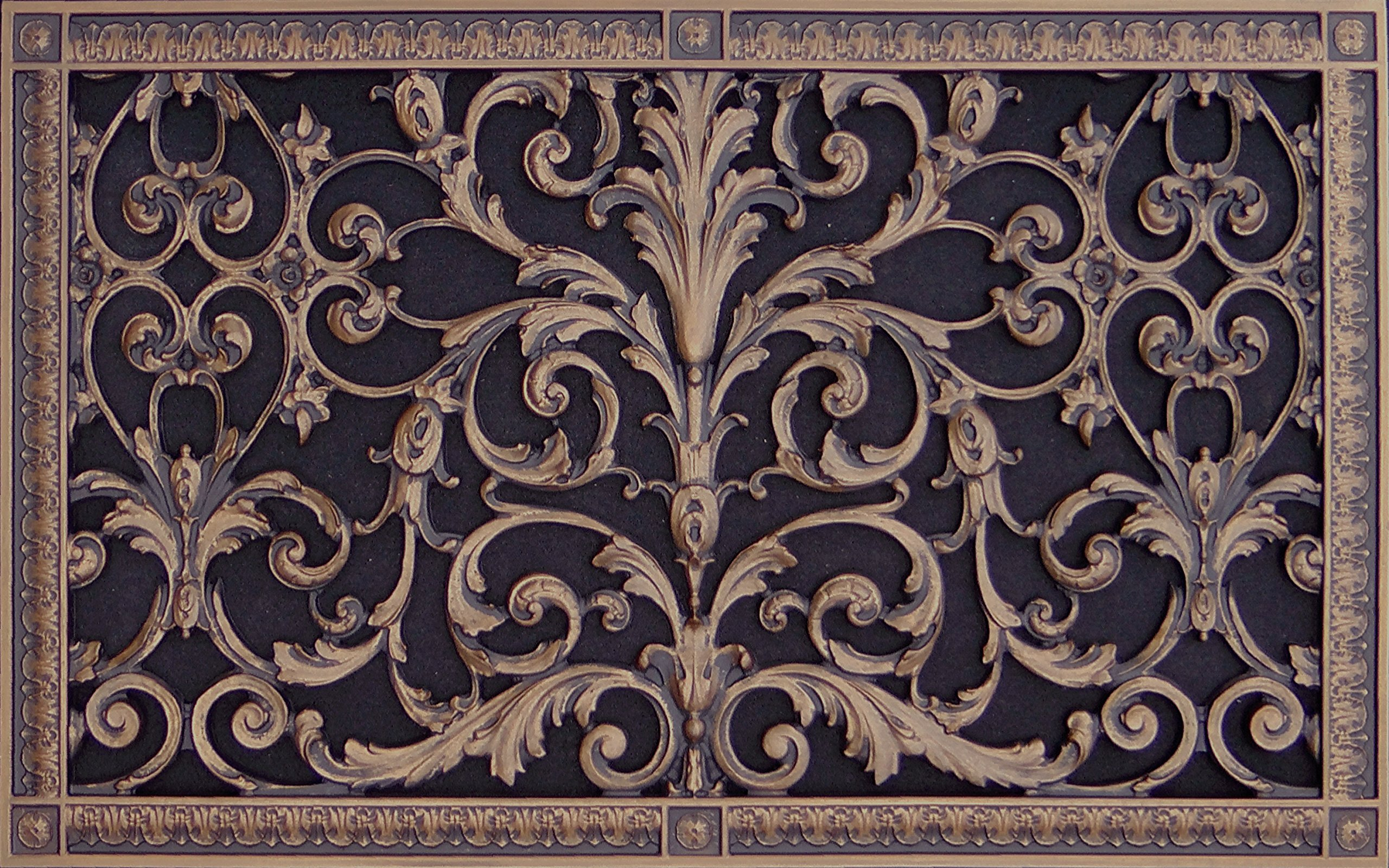 "Decorative Vent Cover, Grille, made of Urethane Resin in Louis XIV, French style fits over a 24"" x 14"", Total size, 26"" by 16"", for wall & ceiling installation only. (not for floors) (Rubbed Bronze)"