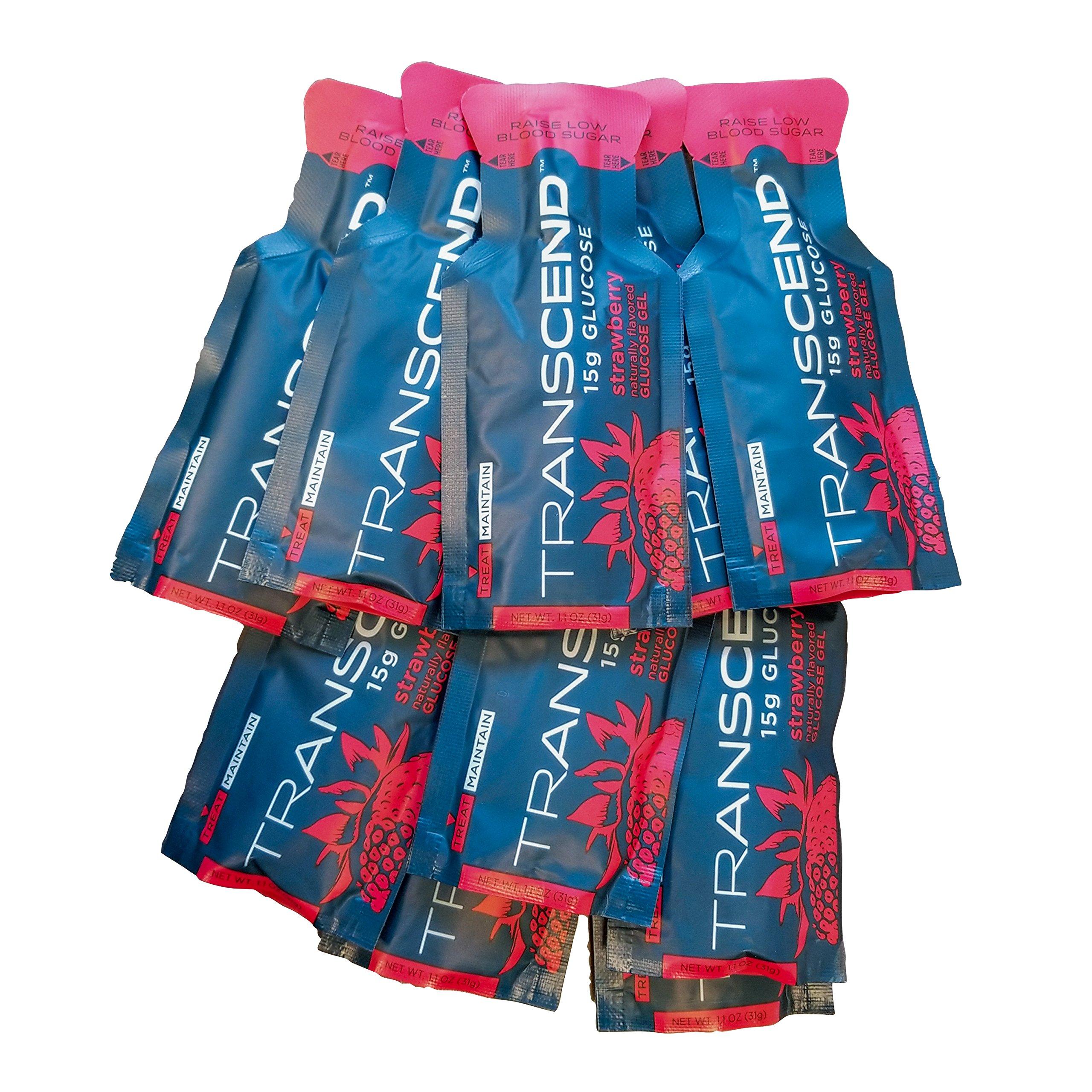 TRANSCEND 15g Strawberry Glucose Gel - 10 Pouch Bulk Pack