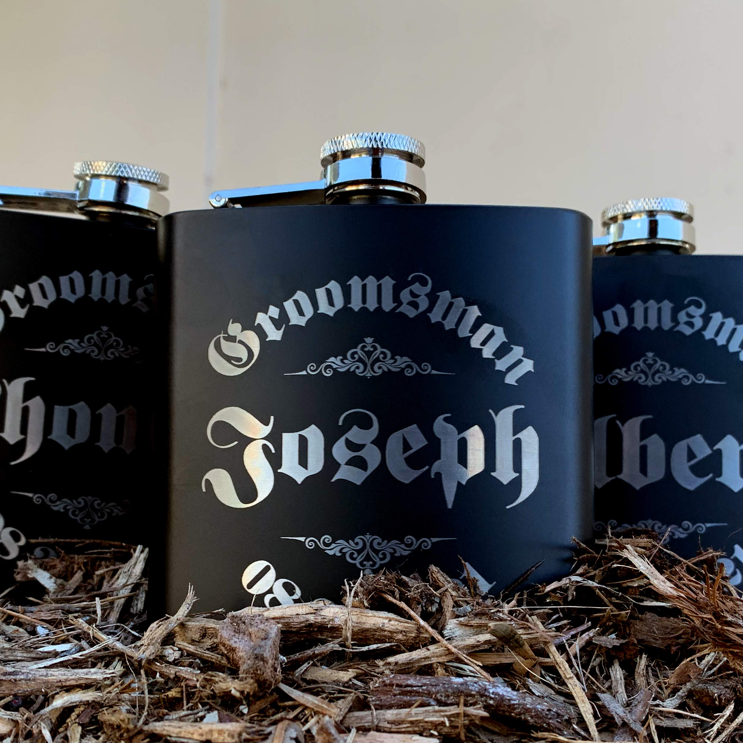 Personalizedgiftland Personalized Flask, Set Of 6 - Customized Flask Groomsmen Gifts For Wedding Favors, Personalized Groomsman gift - Stainless Steel Engraves Flasks w Gift Box Options - 6oz, Black by PersonalizedGiftLand (Image #8)