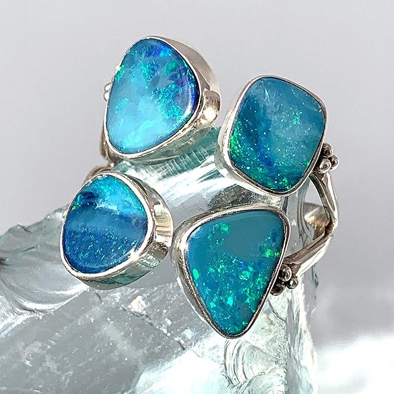 8 US Raw black opal ring Australian opal ring Natural Australian opal ring #114 Green opal ring