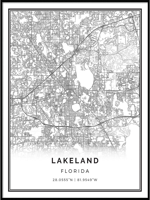 Squareious Lakeland map Poster Print   Modern Black and White Wall Art   Scandinavian Home Decor   Florida City Prints Artwork   Fine Art Posters 9x11