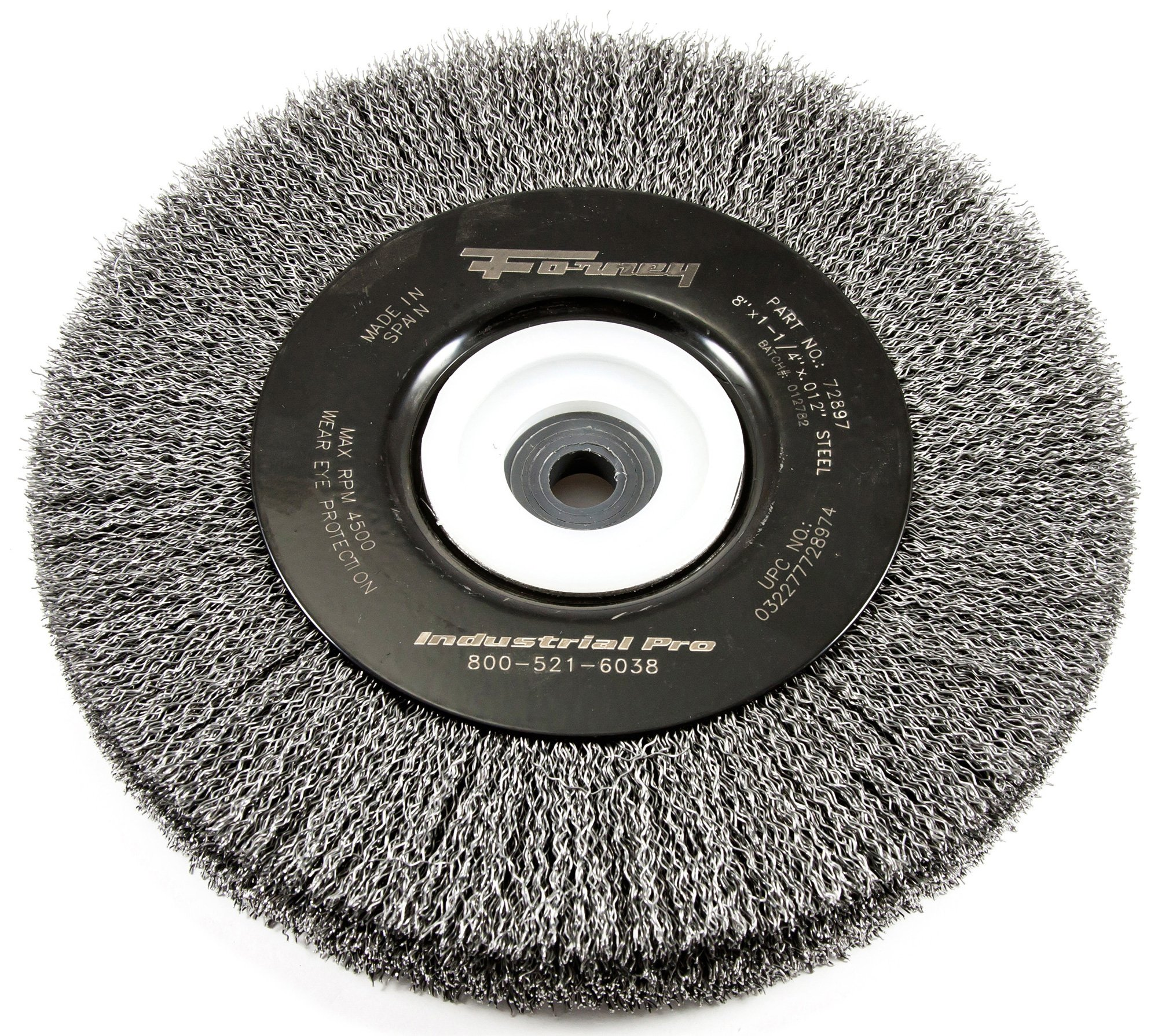 Forney 72897 Wire Bench Wheel Brush, Industrial Pro Crimped  with 1/2-Inch Through 2-Inch Multi Arbor, 8-Inch-by-.012-Inch by Forney