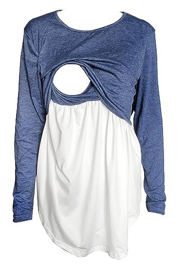 84e52334636 Women's Long Sleeve Nursing Tops Maternity Breastfeeding Loose Blouse T- Shirt (S, Blue