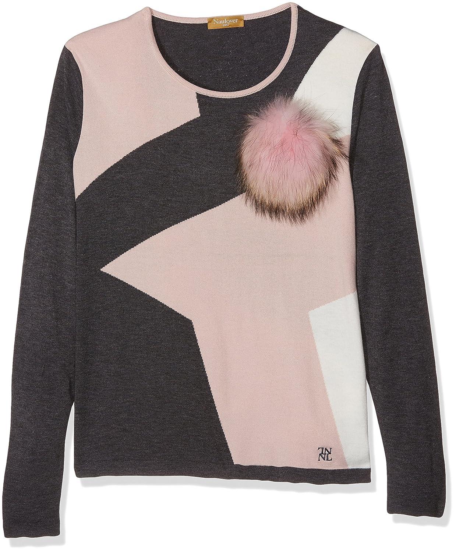 NAULOVER Damen Pullover Jersey Intarsia M/L Cuello Caja