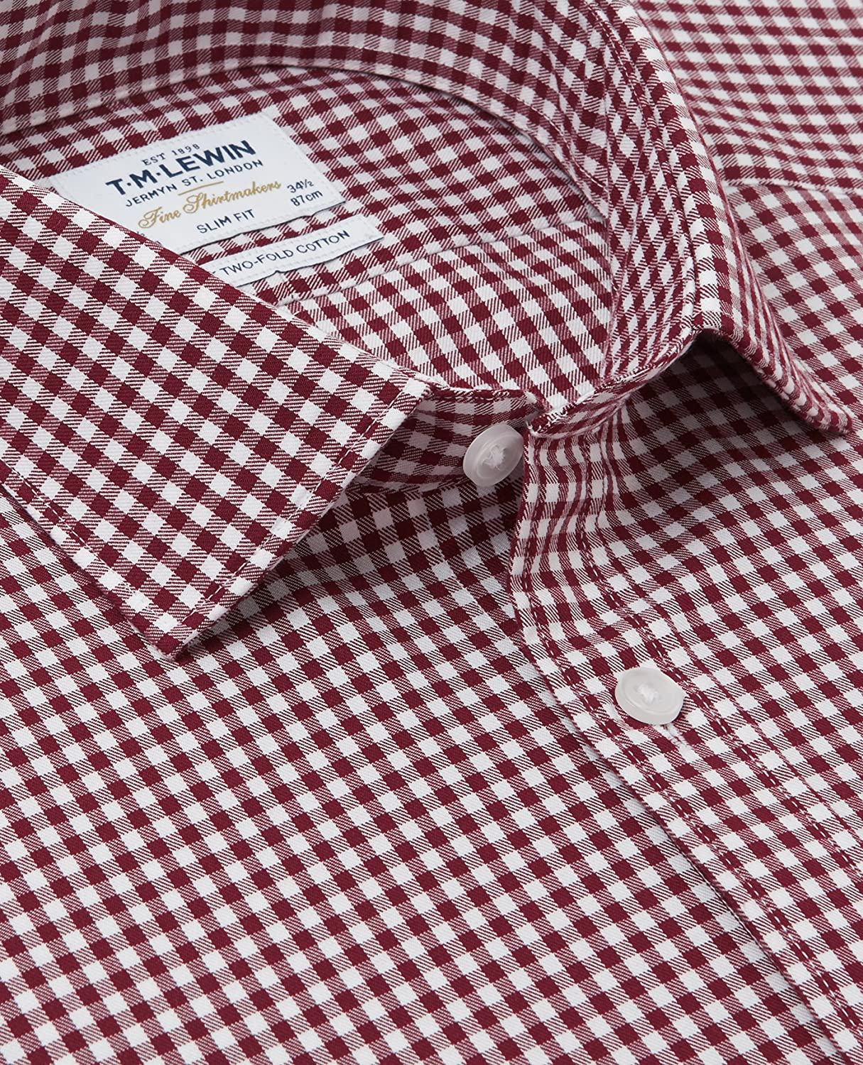 9d989b63 T.M.Lewin Men's Slim Fit Gingham Check Burgundy Shirt - Button Cuff:  Amazon.co.uk: Clothing