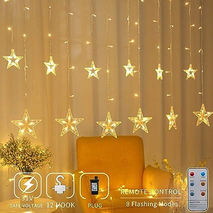 Areskey Star Christmas Lights,138 LED 12 Star Curtain String Lights,Waterproof  Star Lights - Amazon.com: Areskey Star Christmas Lights,138 LED 12 Star Curtain
